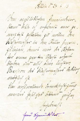 Antrag auf Wasseranschluss aus dem Jahre 1913